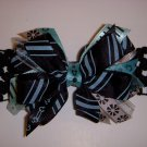 Small Black/Aqua Side by Side Sassy Bow on Headband