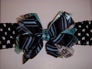 Small Black/Aqua Side by Side Sassy Bow on Headband