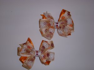 Small Autumn Orange/Cranberry Triple Layer Side by Side Pigtail Bows (Set of 2)