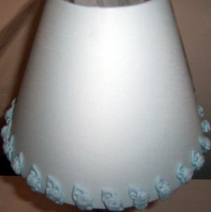 SHABBY CHIC POWDER BLUE LINEN ROSES LAMP SHADE