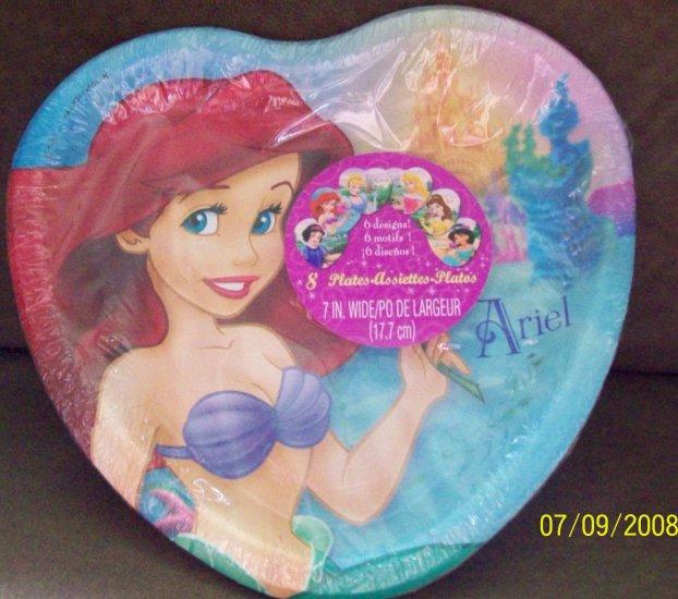 "Disney Princess Party (8) 7"" Heart Shaped Dessert Plates"
