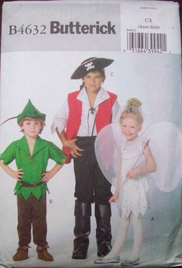 BOY GIRL PETER PAN HOOK TINKERBELL PATTERN 3-6 B4632