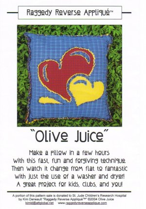 �Olive Juice� Pillow Pattern Raggedy Reverse Appliqué ~ FREE SHIPPING ~