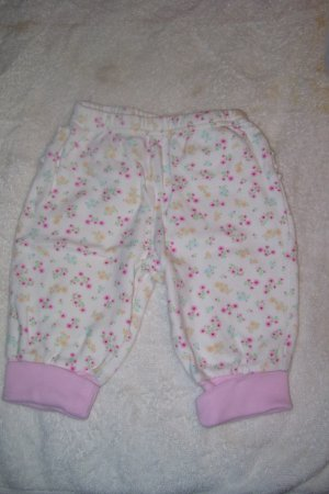 Floral Pants With Pink Trim and Ruffles
