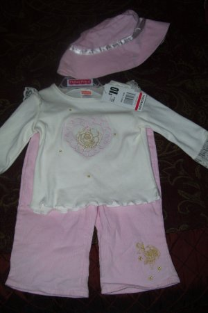 *New* 3pc Light Pink Outfit With Hat