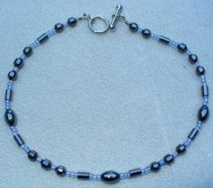 OOAK Hand Made Hematite & Blue Beaded Bracelet / Anklet