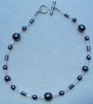 OOAK Hand Made Hematite & Pink Beaded Bracelet / Anklet
