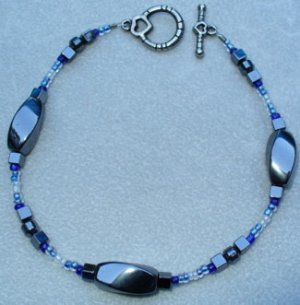 OOAK Hand Made Hematite & Blue Beaded Bracelet / Anklet