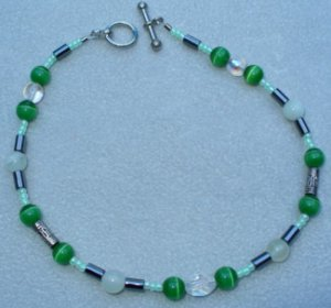 OOAK Hand Made Jade & Green Cats Eye Beaded Bracelet / Anklet