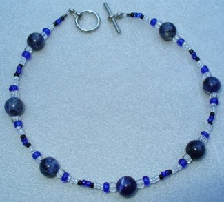 OOAK Hand Made Sodalite & Blue Beaded Bracelet / Anklet