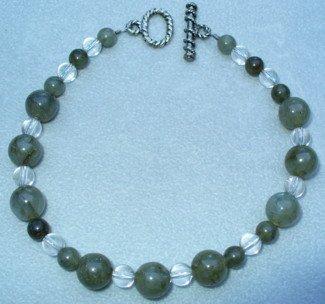 OOAK Hand Made Labradorite & Crystal Beaded Bracelet / Anklet