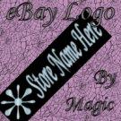Shiny Aqua Art Deco Star on Black Customized eBay Store Logo 310 X 90 #L052