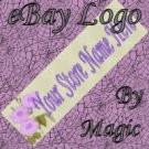 Purple Flowers on Pale Green Customized eBay Store Logo 310 X 90 #L064