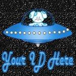 Blue Puppy Dog in Spaceship My Space, eBay My World, Web Icon #M013