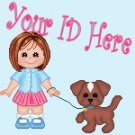 Girl With Puppy Dog My Space, eBay My World, Web Icon #M019