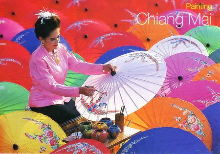 Umbrellas Painting Thailand Postcard