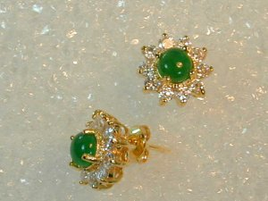 1 ct Fine Burmese Jade Earrings  with cz in this fine gold setting