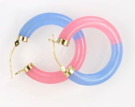 Jade & 14K Yellow Gold Hoop Earrings