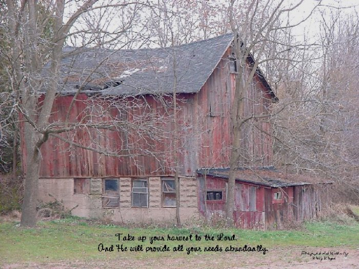 "OLD BARN**CHRISTIAN INSPIRATIONAL VERSE**8""X10"""