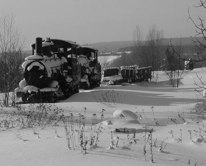 "OLD TRAIN**SNOWY QUINCY MINE**B&W**8""X10"""