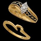 14K Yellow Gold Religious Bridal Diamond Ring