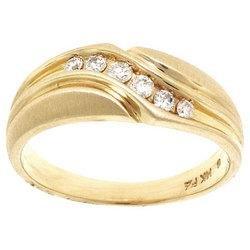 Mens Brushed 14K Gold Diamond Ring Wedding Band