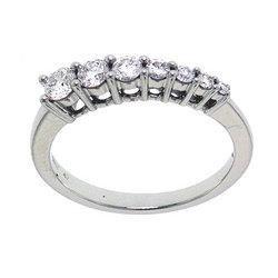 1/2 Carat Diamond 14K White Gold Journey Ring