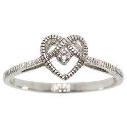 Diamond Ten Karat White Gold Heart Ring-Polished Finish Band