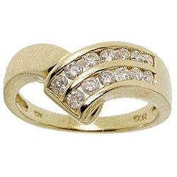 1/2 Carat Diamond Ten Karat Yellow Gold Ring-Channel Set April Birthstones