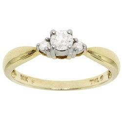 New 1/4 Carat Diamond Gold 3 Stone Anniversary Ring