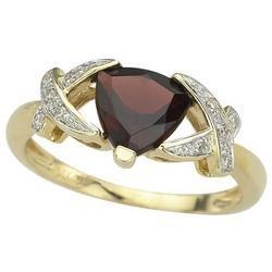 14K Yellow Gold Trillion Garnet & Diamond Bypass Ring
