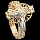 14K Two Tone Gold Men's Crucifix Ring