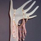 Peach & Pearl Fringe Handmade Necklace