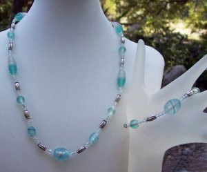 Frosted Aqua Necklace & Bracelet Set-Handcrafted