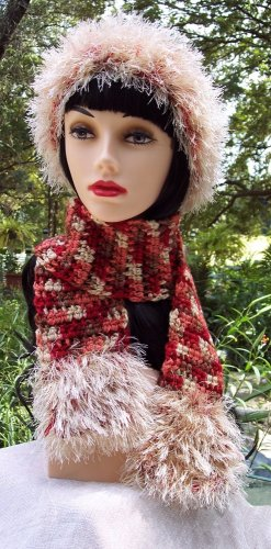 Handmade Crochet Hat & Scarf Set, Sedona Champagne