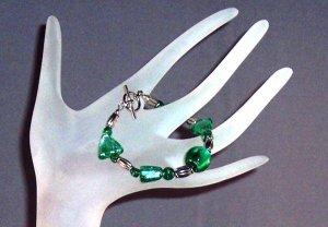 Green Foiled Glass Bracelet Handmade
