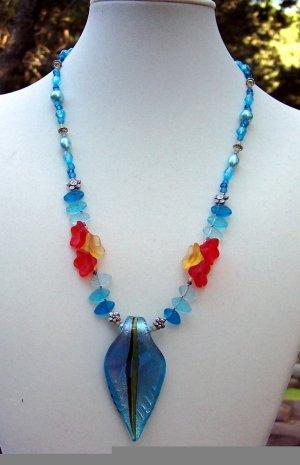 Misty Blue Garden-Handmade Necklace