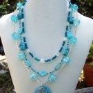 Aqua Glass & Shell Necklace Handmade