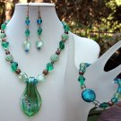 Emerald Glass Nugget Necklace Bracelet & Earring Set-Handmade