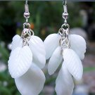 White Leaves Drop Earrings-Handmade