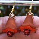 Acrylic Flower Earrings-Autumn Pearls Handmade