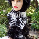 Zebra Striped Hat & Scarf Set Handmade Crochet