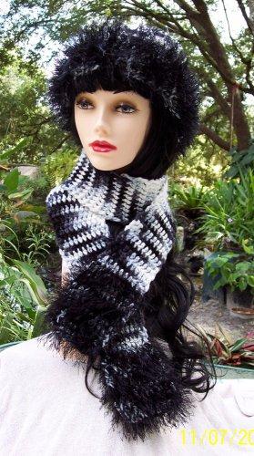 Zebra Striped Hat & Scarf Set Handmade Crochet