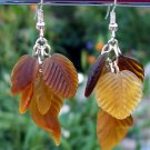 Amber Brown Glass Leaves Earrings-Handmade