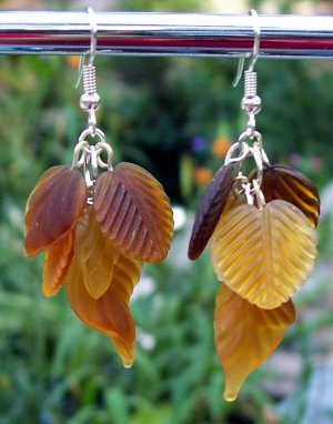 Amber Brown Glass Leaves Earrings-Handmade