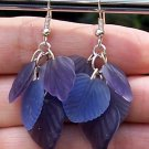 Purple Glass Leaf Earrings-Handmade