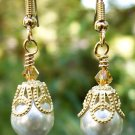 Oyster Pearls & Swarovski Crystal Earrings-Handmade