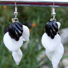 Black & White Leaves Drop Earrings-Handmade