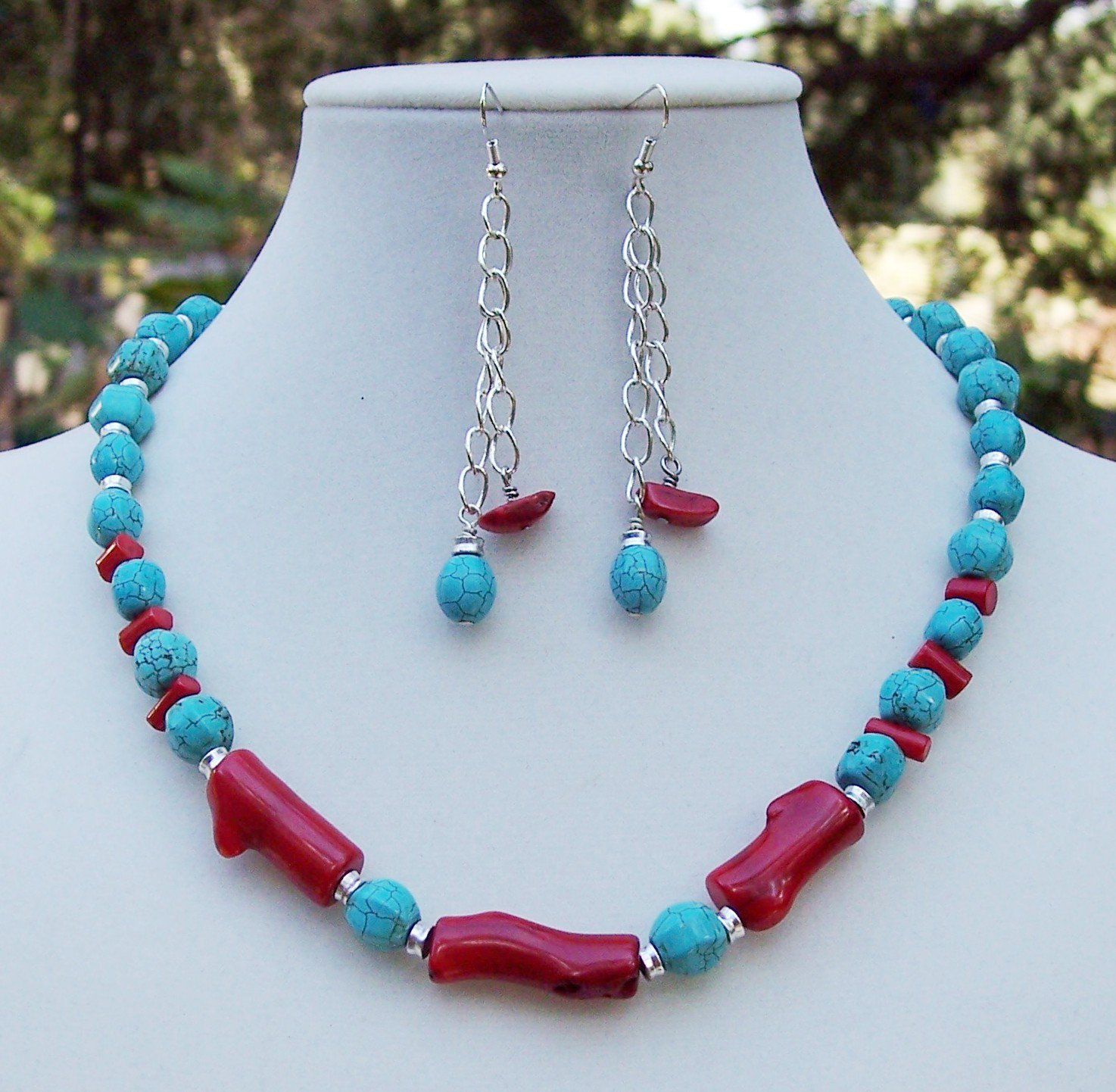bamboo coral turquoise necklace earring set handmade