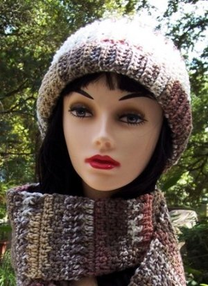 Handmade Crochet Hat & scarf Set Varigated Browns